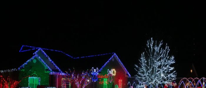 A picture of Hall Family Light Show where you can find some amazing Christmas Lights.